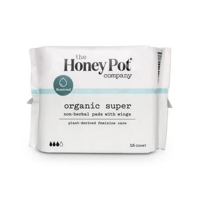 The Honey Pot Organic Cotton Non-Herbal Super Pads - 16ct