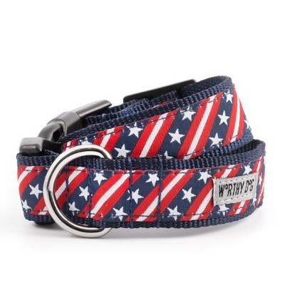 The Worthy Dog Bias Stars and Stripes Dog Collar