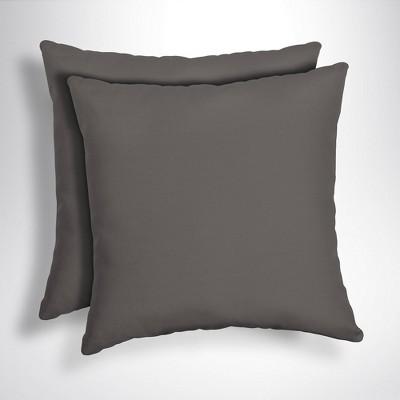2pk Canvas Texture Acrylic Square Outdoor Throw Pillows Slate - Arden Selections