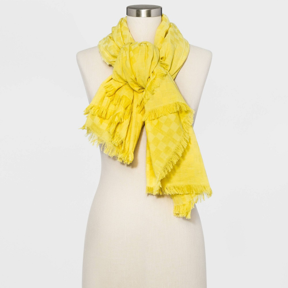Women 39 S Square Gingham Jacquard Scarf Universal Thread 8482 Lime One Size