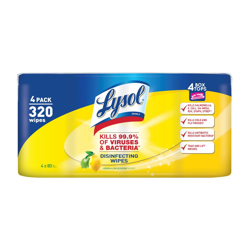Lysol Disinfecting Wipes Value Pack, Lemon & Lime Blossom, 4 x 80 wipes Lysol Disinfecting Wipes eliminate cold and flu viruses, helping to keep surfaces healthy year-round. Lysol Disinfecting Wipes can be used as a convenient way to clean and disinfect your household surfaces. Each pre-moistened disposable wipe kills germs** wherever you use it, even suitable to use on wood. No bottles, no sponges, no mess. **Kills Salmonella Enterica (Salmonella), Influenza A Virus Herpes Simplex Virus Type 1 and Respiratory Syncytial Virus on hard, non porous surfaces in 10 minutes. Kills 99.9 percent of Viruses and Bacteria. Removes more than 95 percent of allergens (Pet Dander, Dust Mite Debris and Pollen Particles). Lysol Disinfecting Wipes are also safe to use on electronics including Smartphones, Tablets and Remote Controls. Size: 4 x 80.