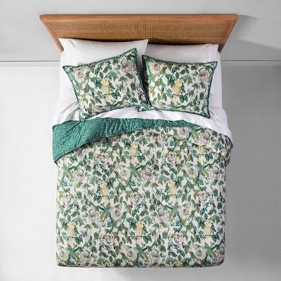 Green Reversible Indo Parakeet Comforter Set (Full/Queen)- Opalhouse™