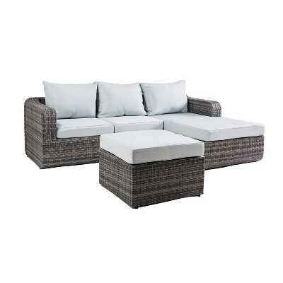 Luies 3pc All - Weather Wicker Patio Conversation Set - Gray with Light Blue Cushions - Thy Hom