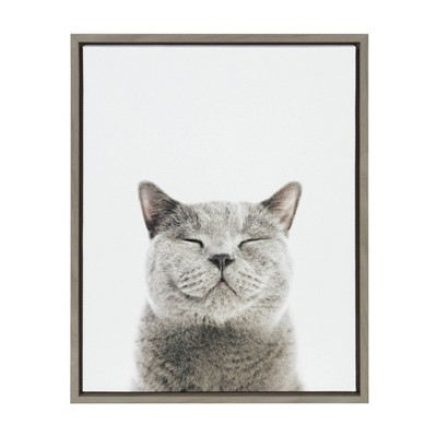 """18"""" x 24"""" Sylvie Smiling Cat Framed Canvas Wall Art by Amy Peterson Gray - Kate and Laurel"""