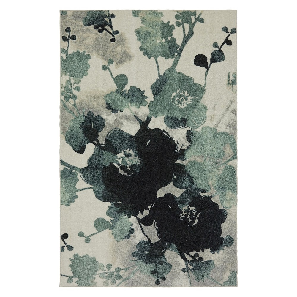 Image of 5'x7' Home Watercolor Floral Area Rug Blue/Cream - Mohawk, Size: 5'x7'
