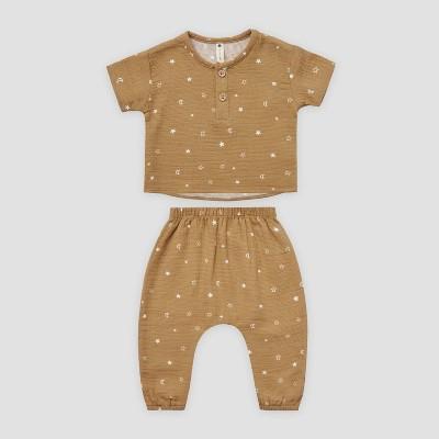 Q by Quincy Mae Baby 2pc Moon & Stars Gauze Short Sleeve Top & Bottom Set - Honey Yellow 3-6M