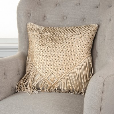 Tassel Oversize Square Throw Pillow Gold - Rizzy Home, Gold White