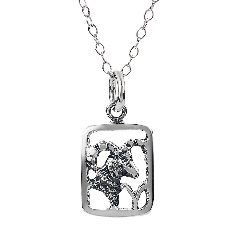 Women's Journee Collection Zodiac Sign Necklace in Sterling Silver - Silver (18), Capricorn