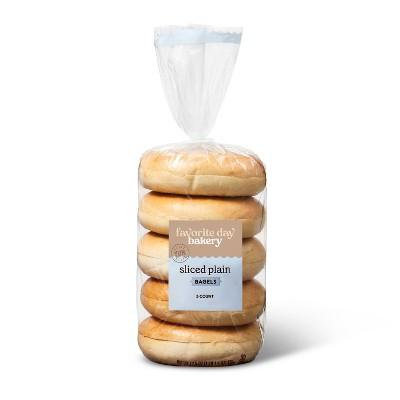 Sliced Plain Bagels - 17.5oz/5ct - Favorite Day™