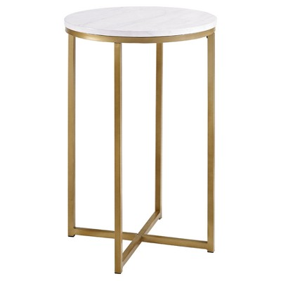 """16"""" X Base Glam Round Side Table Dark Faux Marble/Gold - Saracina Home"""