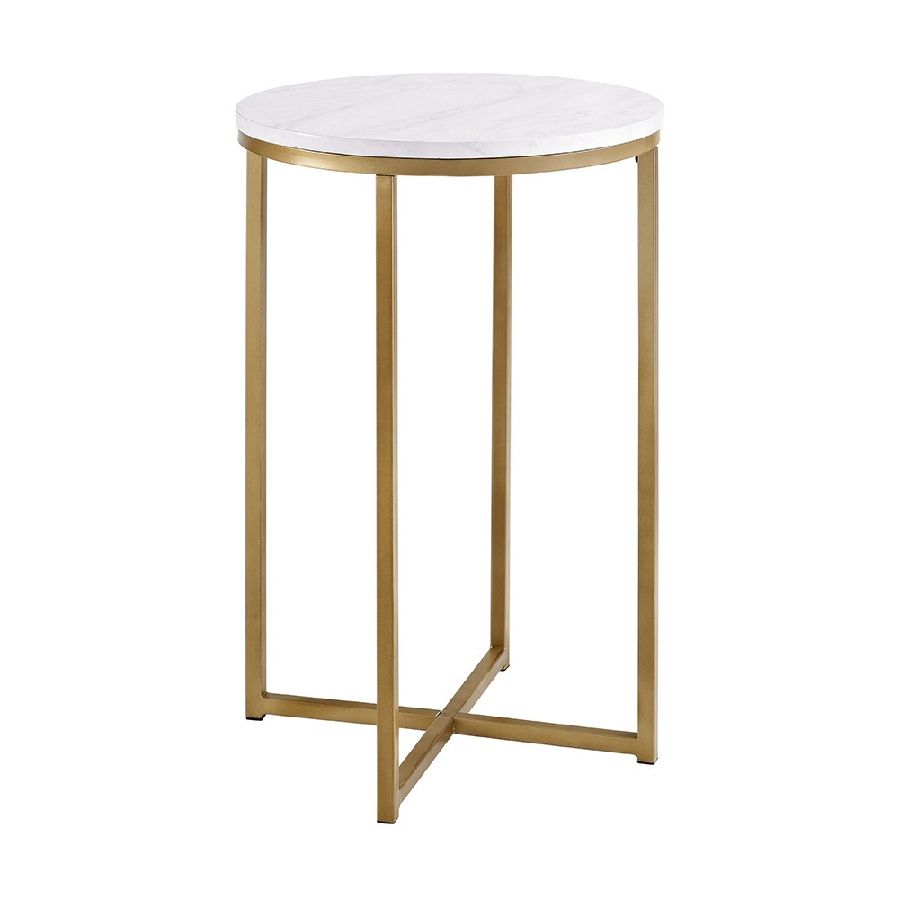 """Image of """"16"""""""" Round Side Table - Gold/White - Saracina Home, Faux Marble/Gold"""""""