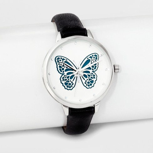 Women's Butterfly Dial Strap Watch - Xhilaration™ Black - image 1 of 2