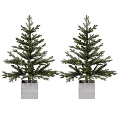 2pk 3ft Pre Lit Artificial Christmas Tree Potted Balsam Fir Clear Lights   Wondershop™ by Wondershop
