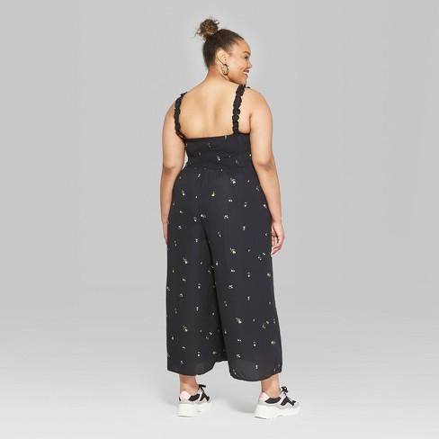 b58da02c72b Women s Plus Size Floral Print Strappy Bra Cup Jumpsuit - Wild Fable™ Black    Target