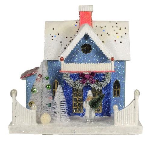 "Christmas 9.75"" Confetti Cottage Hillage House Putz Light Up  -  Decorative Figurines - image 1 of 4"