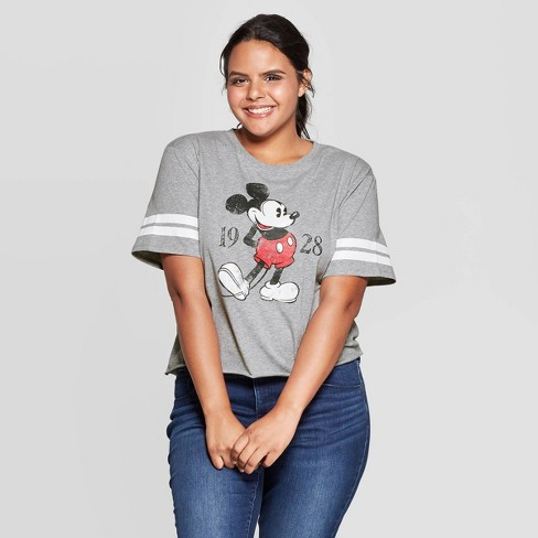 Women's Disney Mickey Mouse Plus Size Short Sleeve Cropped T-Shirt (Juniors') - Heather Gray - image 1 of 2
