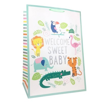Xlarge 'Welcome Sweet Baby' with Jungle Animals Baby Shower Gift Bag - Spritz™