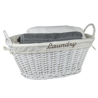 Home Basics Laundry Wicker Basket with Removable Liner, White