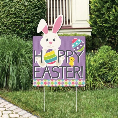 Big Dot of Happiness Hippity Hoppity - Easter Bunny Decorations - Hoppy Easter Welcome Yard Sign