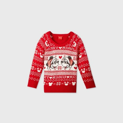 Toddler Girls' Mickey and Minnie Mouse Santa Hat Ugly Christmas Sweater Red 12M