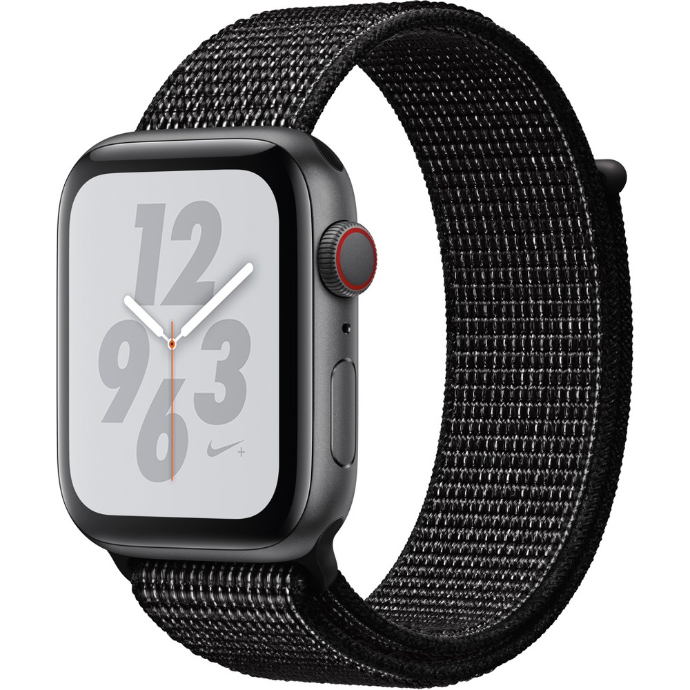Apple Watch Series 4 Nike+ Gps & Cellular 44mm Space Gray Aluminum Case with Nike Sport Loop - Black, Black Sport Loop Track your runs with Gps and altimeter. Pair your watch wirelessly with compatible gym equipment. Apple Watch Nike+ is swimproof, so you can take a post-run dip in the pool. And built-in cellular lets you stream your favorite music and get phone calls, messages, and notifications—even when you don't have your phone. There are new Nike watch faces and bands: The Nike Sport Band with compression-molded perforations for breathability and the Nike Sport Loop is woven with a special reflective thread. Selection may vary; see a sales associate for available models. Apple Watch Series 4 (Gps + Cellular) requires an iPhone 6 or later with iOS 12 or later. Wireless service plan required for cellular service. Apple Watch and iPhone service provider must be the same. Not all service providers support enterprise accounts; check with your employer and service provider. Roaming is not available outside your carrier network coverage area. Contact your service provider for more details. Iso standard 22810:2010. Appropriate for shallow-water activities like swimming. Submersion below shallow depth and high-velocity water activities not recommended. Compared with the previous generation. Color: Black Sport Loop.