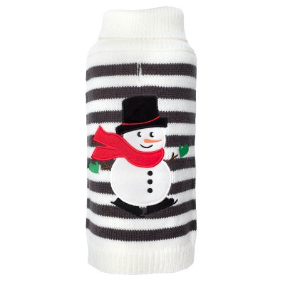 The Worthy Dog Stripe Snowman Pullover Sweater