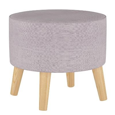 Round Ottoman with Splayed Legs Linen Smokey Quartz - Skyline Furniture