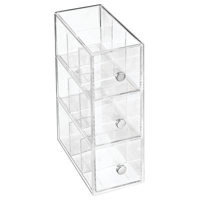mDesign Plastic Kitchen Storage Tea Organizer, 3 Drawers - Clear