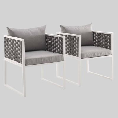 Stance 2pk Outdoor Aluminum Patio Dining Armchair Gray - Modway