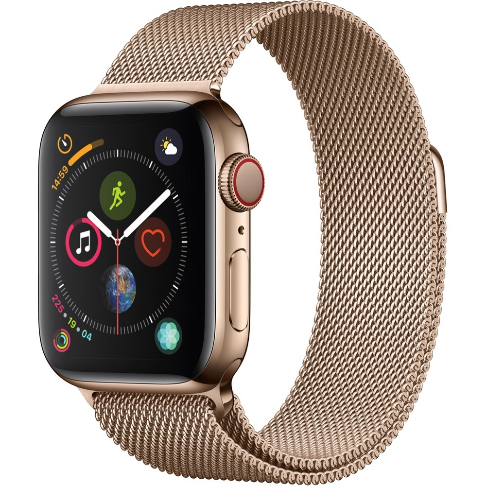 Apple Watch Series 4 Gps & Cellular 40mm Gold Stainless Steel Case with Milanese Loop - Gold Fundamentally redesigned and reengineered. The largest Apple Watch display yet. Built-in electrical heart sensor. New Digital Crown with haptic feedback. Low and high heart rate notifications. Fall detection and Emergency Sos. New Breathe watch faces. Automatic workout detection. New yoga and hiking workouts. Advanced features for runners like cadence and pace alerts. New head-to-head competitions. Activity sharing with friends. Personalized coaching. Monthly challenges and achievement awards. Built-in cellular lets you use Walkie-Talkie, make phone calls, and send messages. Stream Apple Music and Apple Podcasts. And use Siri in all-new ways—even while you're away from your phone. With Apple Watch Series 4, you can do it all with just your watch. Selection may vary; see a sales associate for available models. Apple Watch Series 4 (Gps + Cellular) requires an iPhone 6 or later with iOS 12 or later. Wireless service plan required for cellular service. Apple Watch and iPhone service provider must be the same. Not all service providers support enterprise accounts; check with your employer and service provider. Roaming is not available outside your carrier network coverage area. Contact your service provider for more details. Apple Music requires a subscription. Compared with the previous generation. Iso standard 22810:2010. Appropriate for shallow-water activities like swimming. Submersion below shallow depth and high-velocity water activities not recommended. Color: Gold.