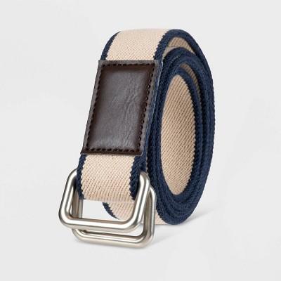 Men's 35mm Striped Stretch Web Belt - Goodfellow & Co™ Gray/Navy