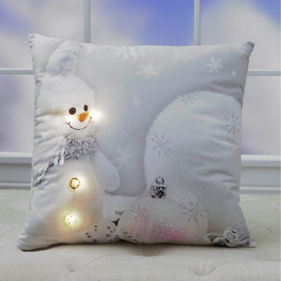 Lakeside Holiday Snowman Print Lighted Accent Pillow with Hidden Battery Pack