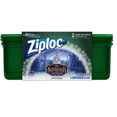 Ziploc Holiday 2ct Large Green Rectangle Container