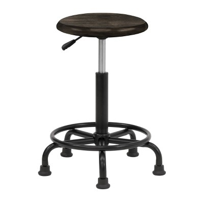 Retro Wood and Metal Swivel Height Adjustable Stool with Foot Ring - Distressed Black - studio designs