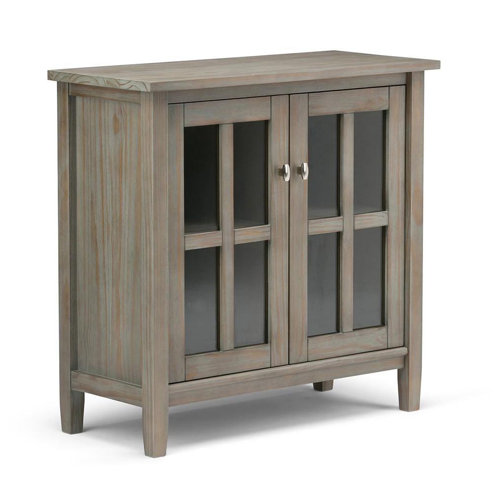 Norfolk Solid Wood Low Storage Cabinet Distressed Gray - Wyndenhall