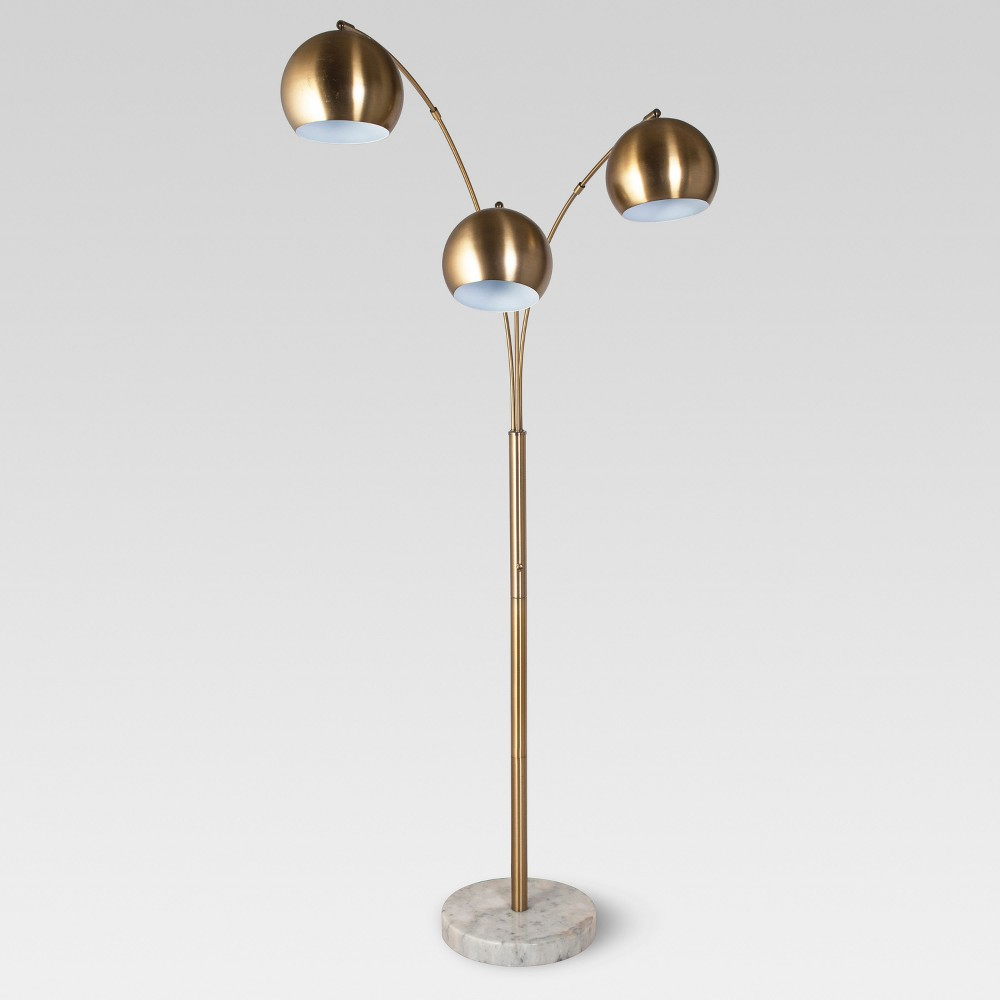 Span 3-Head Metal Globe Floor Lamp Brass Includes Energy Efficient Light Bulb - Project 62
