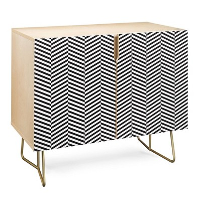Three of The Possessed Leaves Credenza Gold - Deny Designs