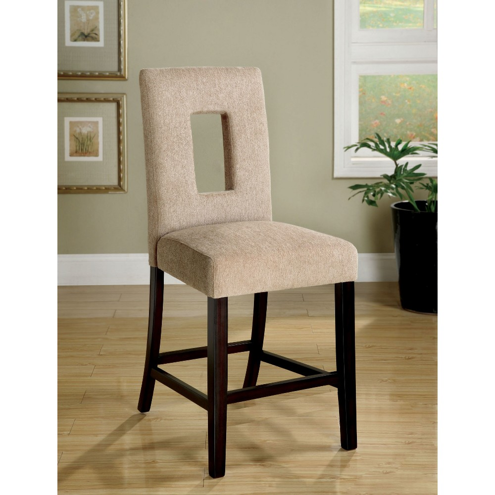 ioHomes Fabric Padded Open Rectangle Back Counter Chair Wood/Espresso (Set of 2)