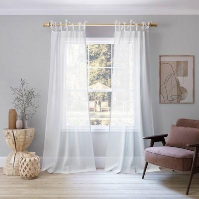 "84""x50"" Bethany Slub Textured Linen Blend Sheer Tie Top Curtain Panel White - No. 918"