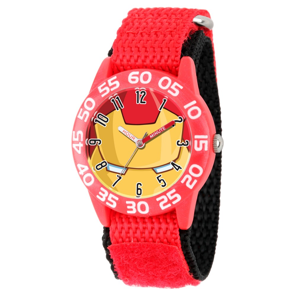Image of Boys' Marvel's Avengers Iron Man Red Plastic Time Teacher Watch - Red, Boy's, Size: Small