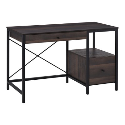 HomCom Home Office Writing Desk with File Storage Drawer for Letter Size PC Study Table Computer Workstation Walnut Brown