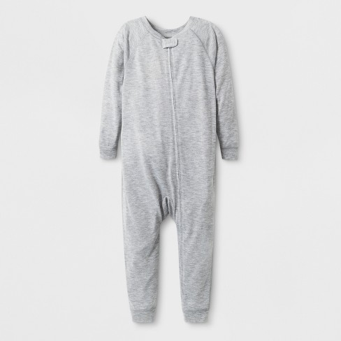 Toddler Adaptive Long Sleeve Reversible Union Suit - Cat & Jack™ Heather Gray - image 1 of 1