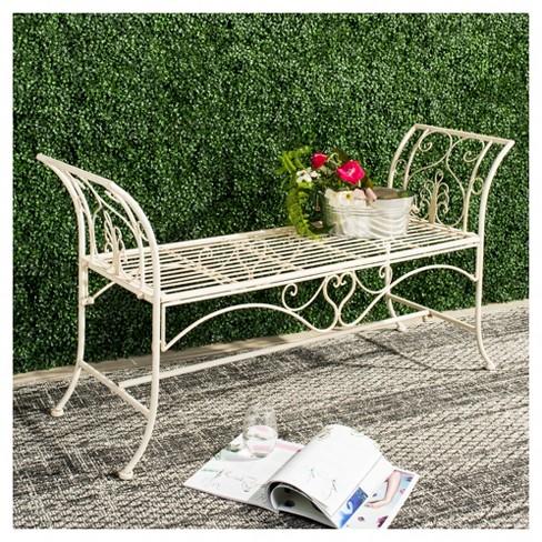 Adina Wrought Iron Outdoor Garden Bench Antique White Safavieh