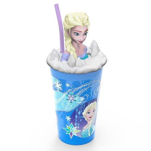 Frozen Elsa 15oz Plastic Cup With Lid And Straw Blue/White - Zak Designs - image 1 of 5
