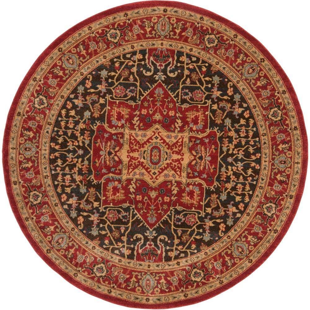 6'7 Medallion Loomed Round Area Rug Red - Safavieh
