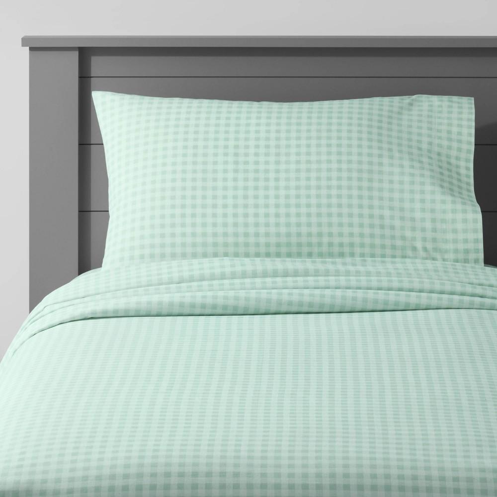 Toddler Gingham Cotton Sheet Set Mint Pillowfort 8482
