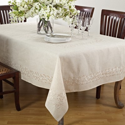 Saro Lifestyle Embroidered Design Linen Blend Tablecloth