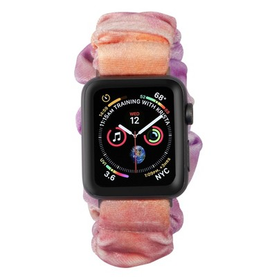 Insten Scrunchie Watch Band Compatible with Apple Watch Series SE 6 5 4 3 2 1 38mm 40mm, Elastic Fabric Wristband Strap, Fancy Bracelet,Pink Peach Mix
