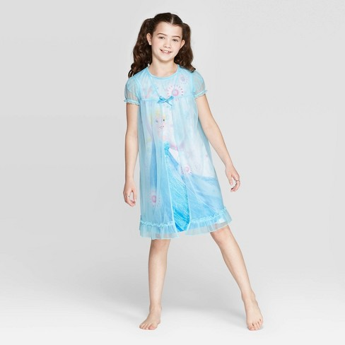 Girls' Frozen Fantasy Nightgown - Blue - image 1 of 3