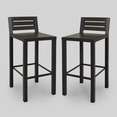 Bryant 2pk Faux Wood Patio Bar Stool   Black   Project 62™
